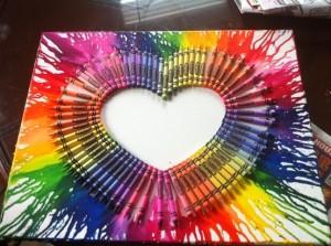 melted crayon art heart