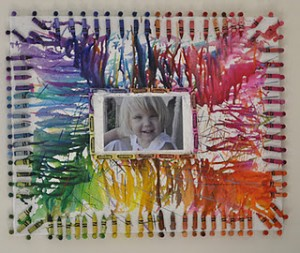 melted crayon art picture frame