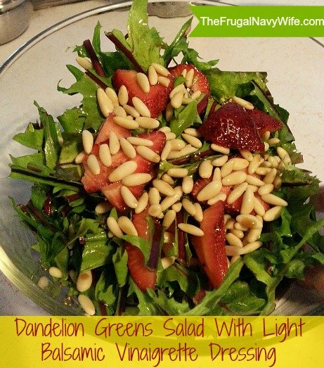 Dandelion Greens Salad With Light Balsamic Vinaigrette