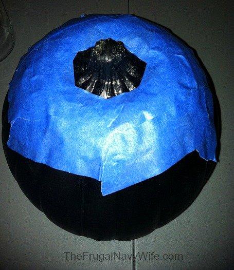 DIY Bejeweled Pumpkin tape off