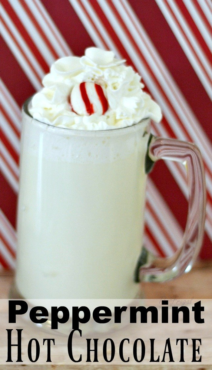 This peppermint white hot chocolate recipe is easy and addicting! It can be made in less than 3 minutes! #hotchocolate #FrugalNavyWife #Chocolates #whitehotchocolate #peppermint #pepperminthotchocolate #peppermintrecipes #hotchocolaterecipe #easyrecipe