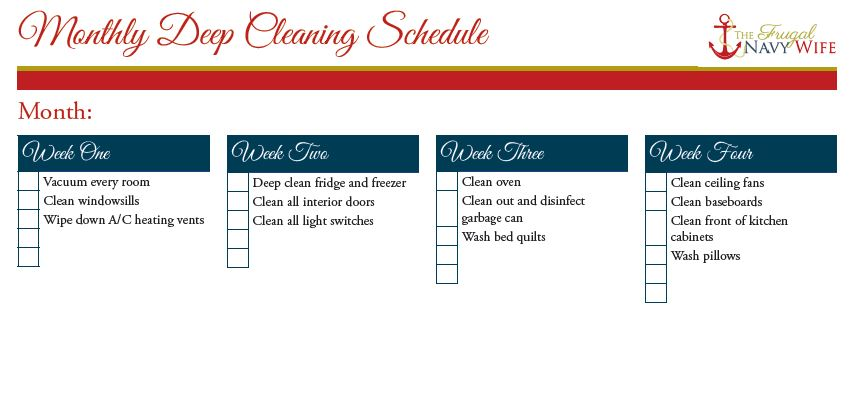 Monthly Deep Cleaning Schedule Printables