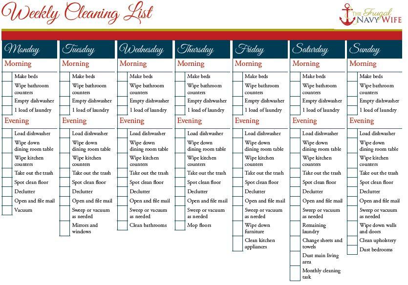 Weekly Cleaning Schedule Printables