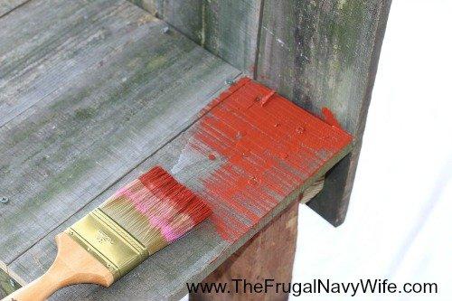DIY Ohio State Buckeye Bench Paint