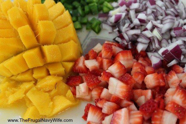 Strawberry Mango Salsa Cut Ingrediants