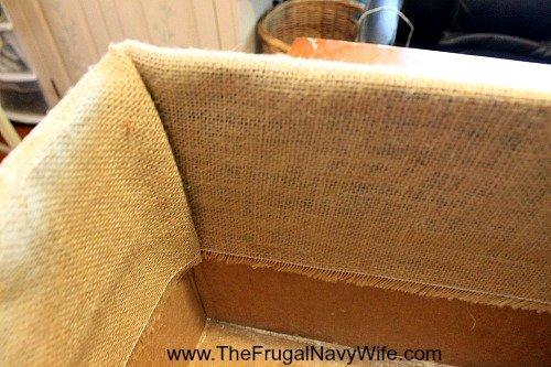DIY Burlap Covered Box Corner