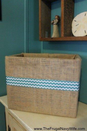 DIY Burlap Covered Box done