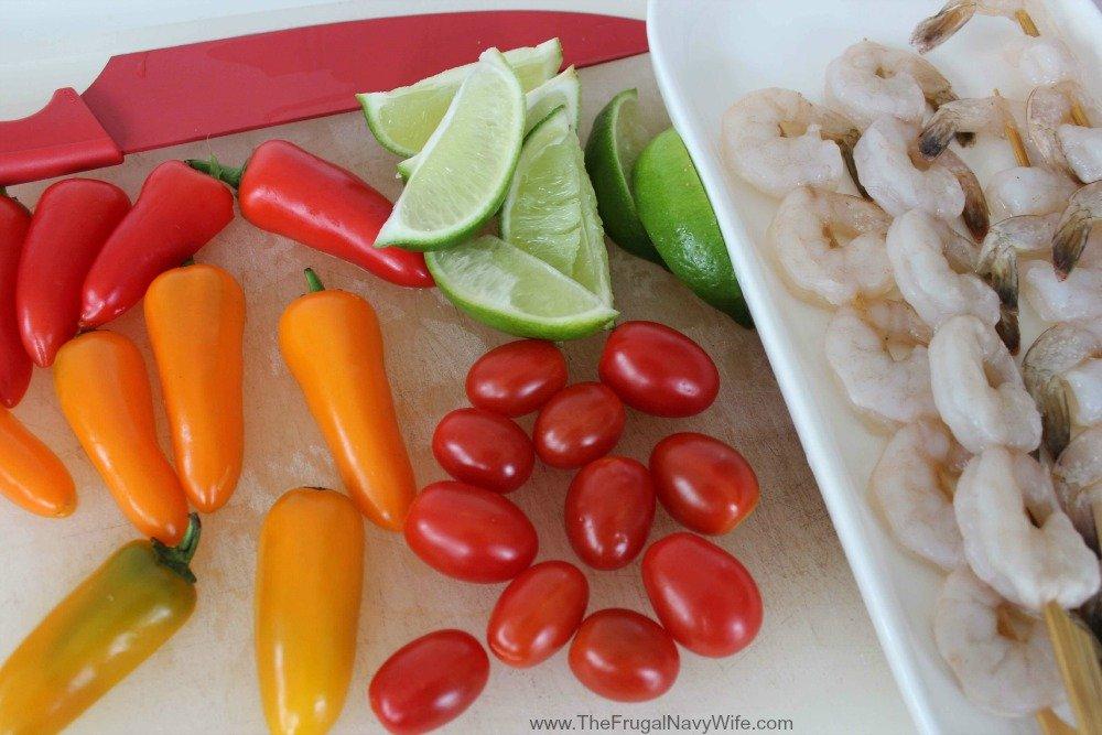 Southwestern Shrimp Skewers Cut Up