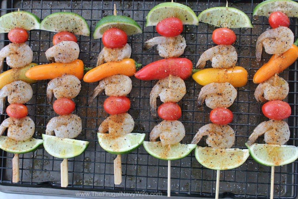 Southwestern Shrimp Skewers Seasoned