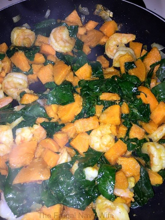 Sweet Potato, Kale and Shrimp Skillet All Coooked