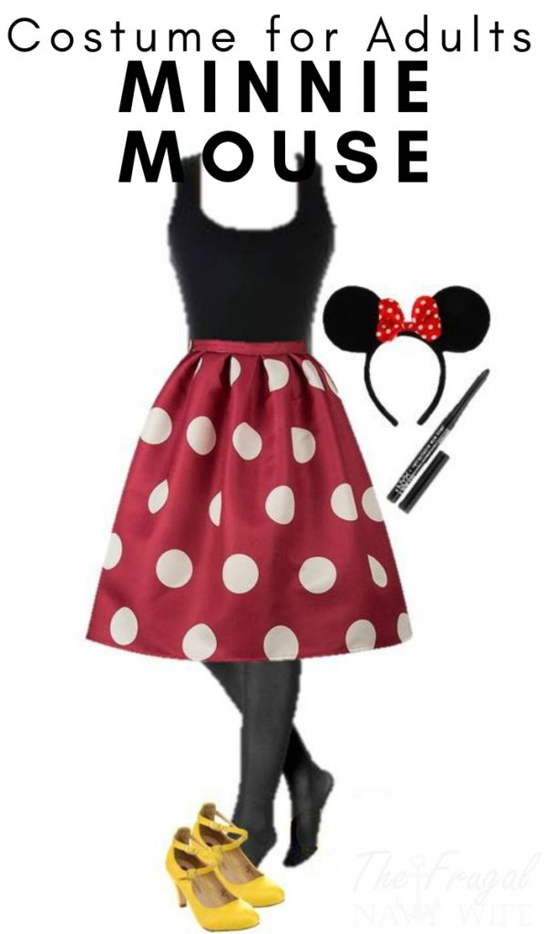 Here is an easy DIY Minnie Mouse Halloween costume for adults made from everyday clothes. You have a Halloween Costume already in your closet! #minniemouse #halloweencostume #adultcostume #frugalnavywife | Halloween Costumes for Adults | Disney Adult Costumes |Frugal Adult Halloween Costumes |