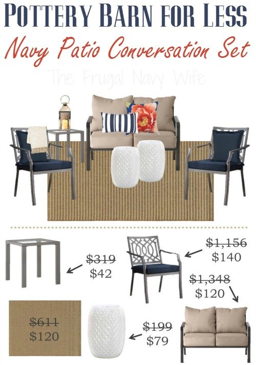 Pottery Barn for Less - Navy Conversation Patio Set