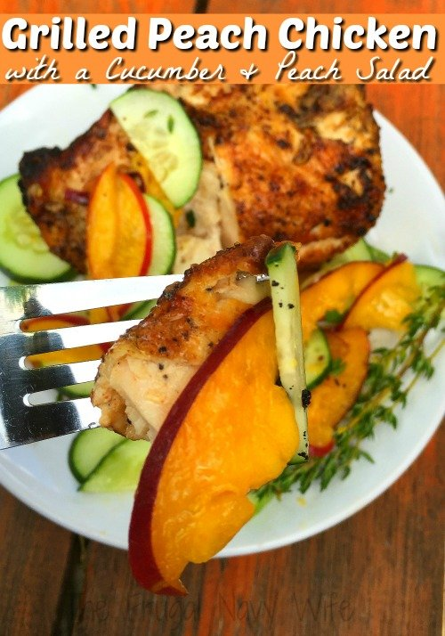 Looking for a great new grilling recipe? This grilled peach chicken is one of the best! Don't skip the cucumber and peach salad with it, it's amazing!