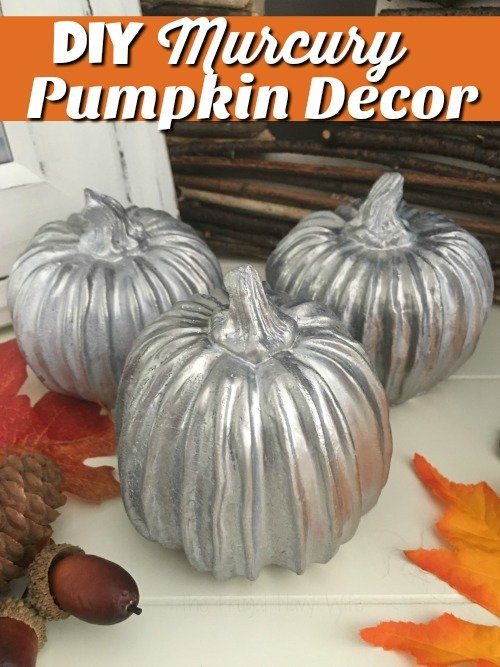 I love the look of mercury glass pumpkins decor, but I hate the price! Using looking glass spray paint I can make my own!