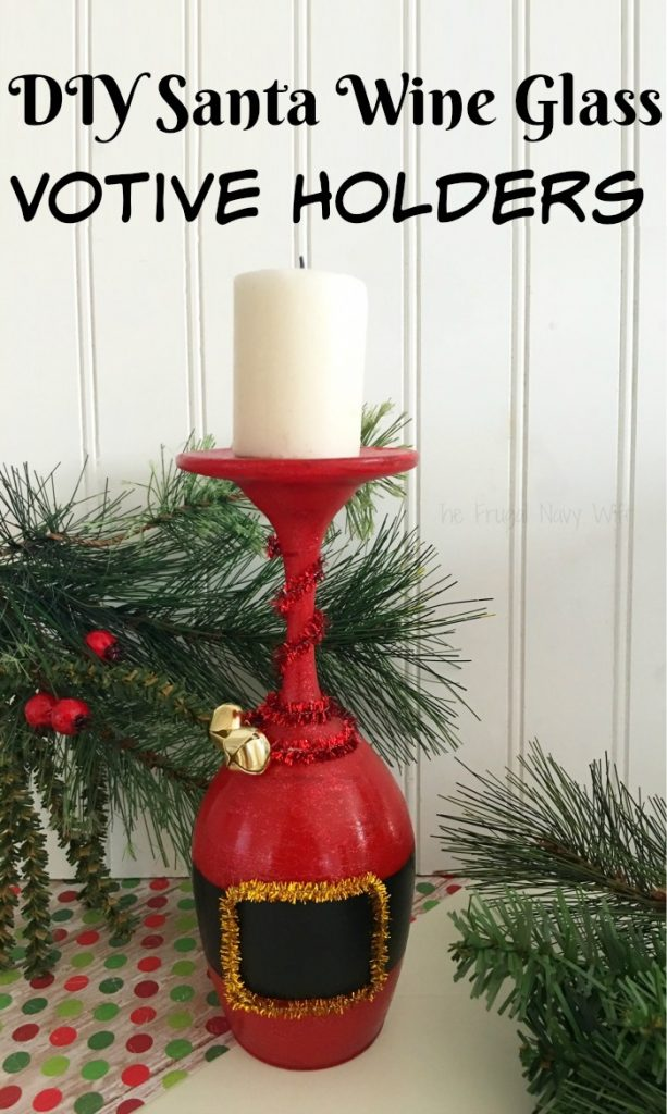 If you are looking for beautiful hand painted wine glasses then this is one you don't want to pass up these DIY Santa wine glasses votive holders!