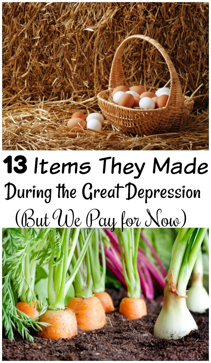 In the Great Depression they handmade a lot mor items then we do now. These 13 items item we pay for now, but they didn't. See how they can save you money! #greatdepression #FrugalNavyWife #frugalliving #FrugalLivingTips #frugallivinghacks #frugality #handmade #SavingMoney #SaveMoney #frugallifestyle