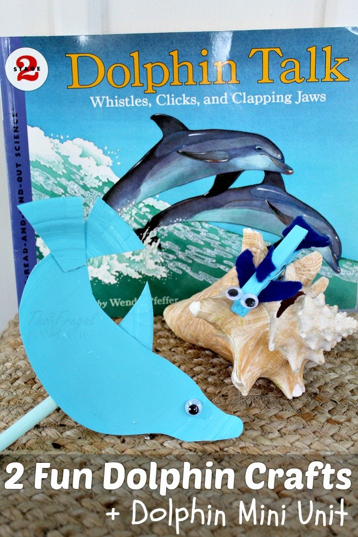 2 fun dolphin crafts and a dolpin mini unit. Dolphin Talk schience book with paper plate craft and close pin craft.