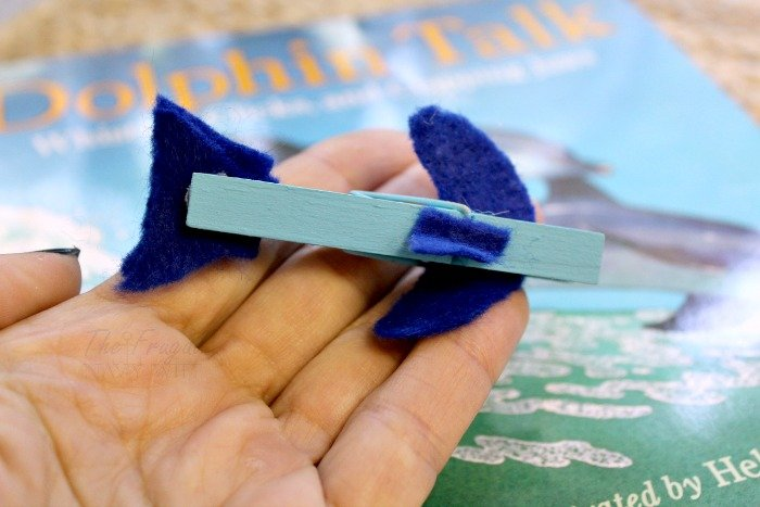 Clothes pin dolphin craft.