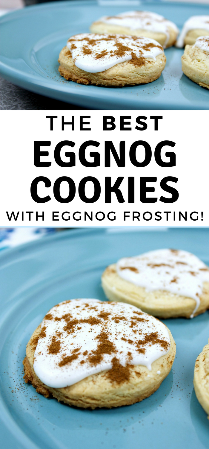 The Best Eggnog Cookies Recipe with Eggnog Frosting on a blue plate.