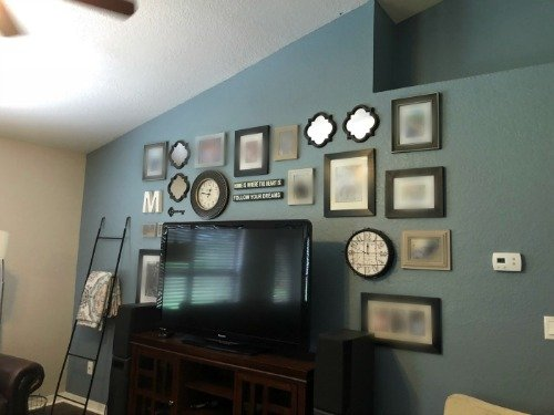 Blue Living Room Wall. Florida Farmhouse