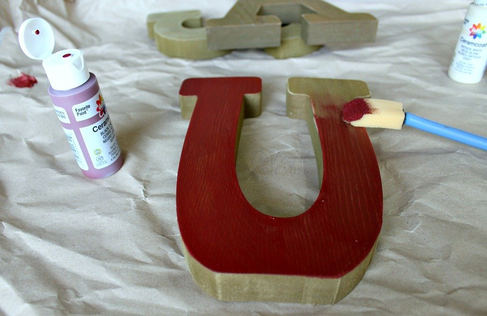 Red White and Blue USA Letters Step 1