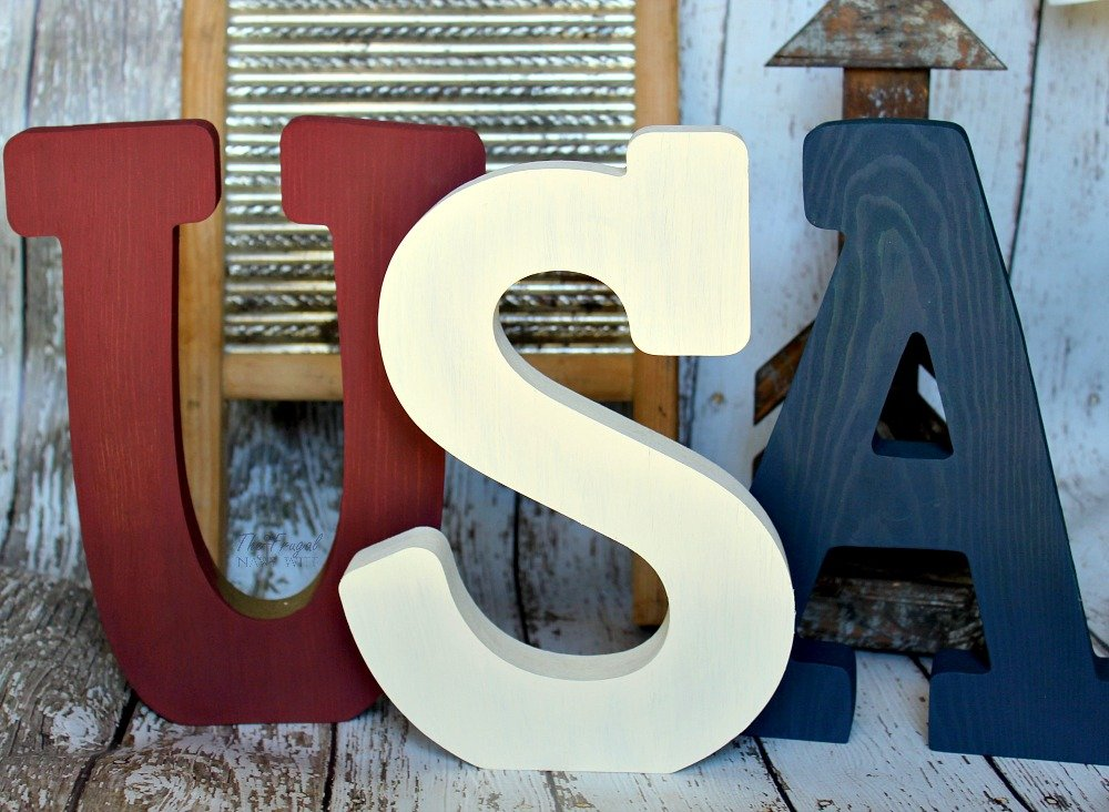 Red White and Blue USA Wood Letters