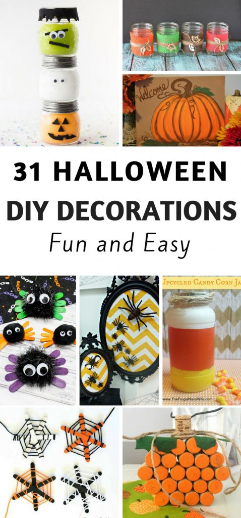 Are you a Halloween lover? Start early crafting to decorate your home? Here are some great DIY Halloween decorations to try this year. #frugalnavywife #halloween #diy #decorations #homedecor | Halloween Decorations | Halloween Crafts | Easy Halloween DIY | Halloween Crafts for kids