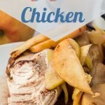 Perfect for busy weeknights, this Crockpot Apple Chicken is an easy four-ingredient recipe that you'll find yourself wanting to make over and over again. #frugalnavywife #chickendinner #crockpotmeals #dumpandgo #savorymeals | Apples And Chicken | Easy