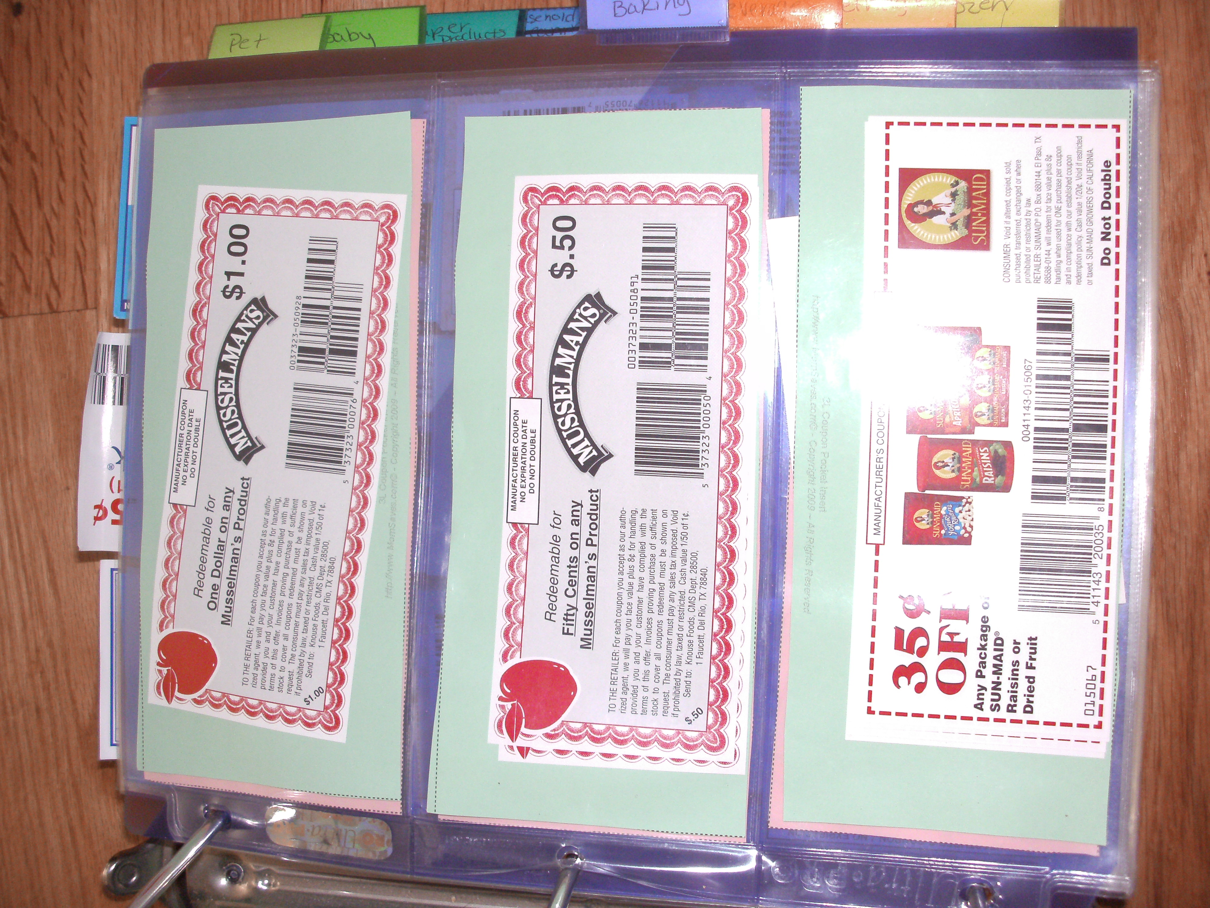 Coupon sheets for binders