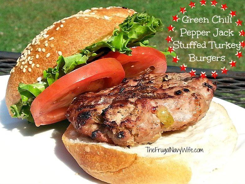 Green Chili Pepper Jack Stuffed Turkey Burgers