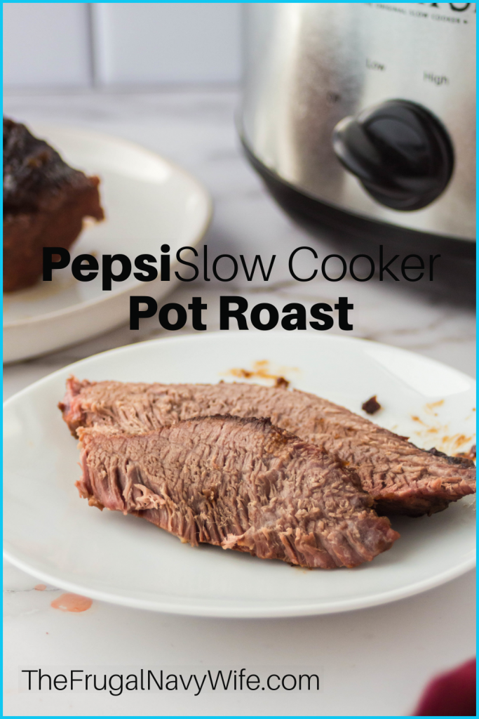 Put a twist on your Pot Roast Recipe with this Pepsi Slow Cooker Pot Roast. The Family will love it, and you will love how simple it is. #frugalnavywife #potroast #dinner #slowcooker #crockpotrecipe #pepsi | Pot Roast Recipe | Crockpot Recipe | Slow Cooker Recipe | Dinner Ideas | Beef Dinner Ideas | Pot Roast Ideas | Easy Dinner Ideas | Pepsi Slow Cooker Pot Roast