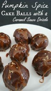 Pumpkin Spice Cake Balls Recipe with a Caramel Sauce Drizzle