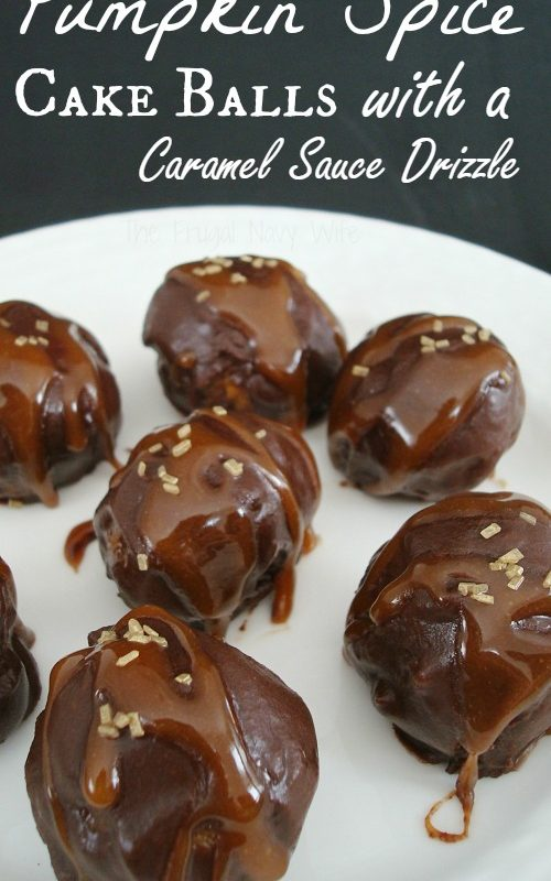 Pumpkin Spice Cake Balls Recipe with a Caramel Sauce Drizzle
