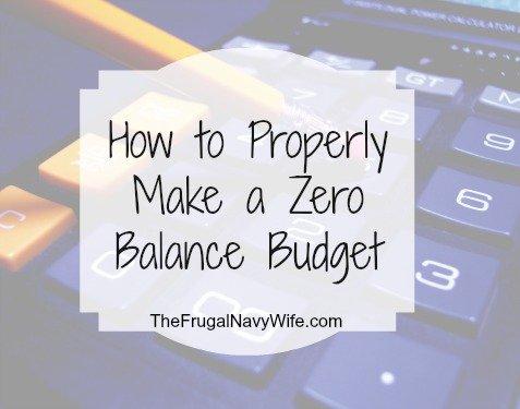 How to Properly Make a Zero Balance Budget