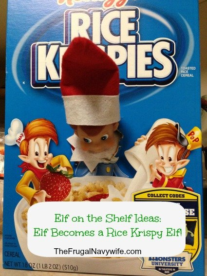Elf on the Shelf Ideas: Elf Becomes a Rice Krispy Elf!