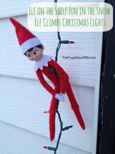 Elf on the Shelf Fun in the Snow: Elf Climbs Christmas Lights