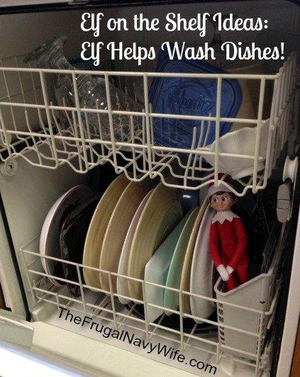 Elf on the Shelf Ideas: Elf Helps Wash Dishes!