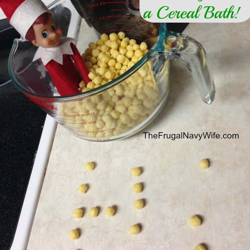 Elf on the Shelf Ideas: Elf Takes a Cereal Bath!