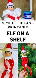 I came up with the perfect hack to get out of moving the elf for a few days. We have done several versions of our Sick Elf on the Shelf. Here are a few! #elfontheshelf #sickelfontheshelf #frugalnavywife #christmas #elfontheshelfideas | Elf On The Shelf Ideas | Sick Elf On The Shelf Ideas | Elf On The Shelf | Ways to not have to move the Elf on the Shelf