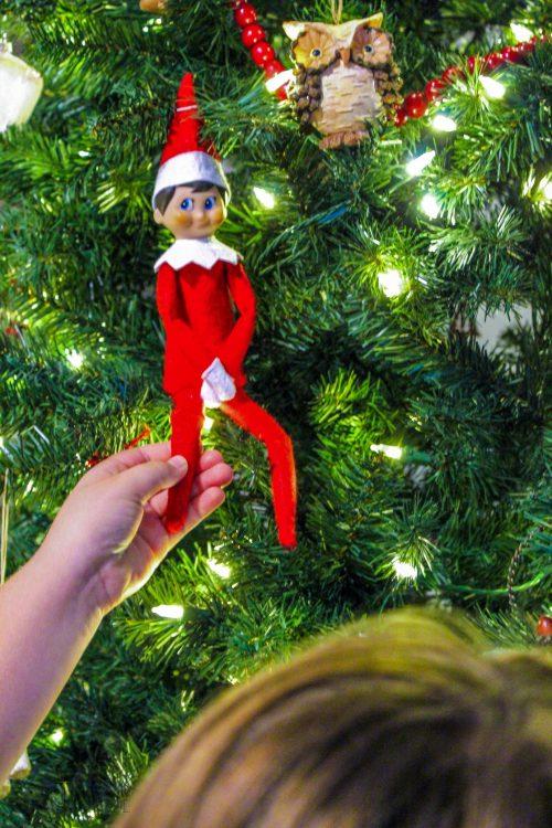 Kid Touches Elf on the Shelf