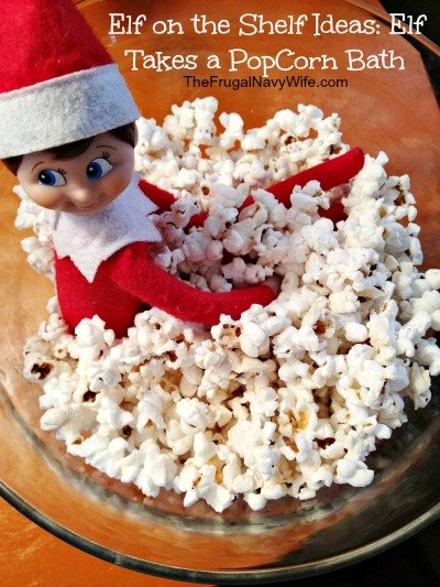 Elf on the shelf ideas elf take a popcorn bath for Elf on the shelf bathroom ideas