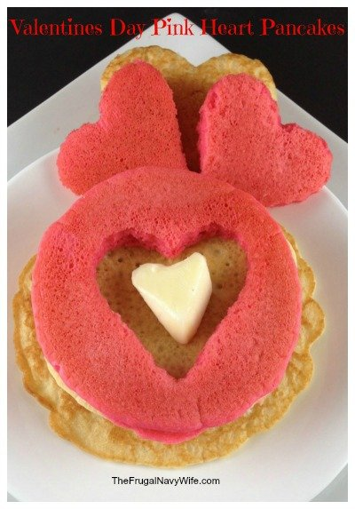 Valentines Day Pink Heart Pancakes