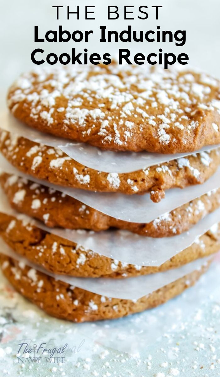 This labor inducing cookies recipe worked for me when I was pregnant and ready to get my baby out. They are similar to a ginger snap but so much better. #cookies #frugalnavywife #laborinducing #pregnacyfood | Cookies Recipe | Recipes to Help Labor | Pregnancy Foods | Baking Recipes | Labor Inducing Foods