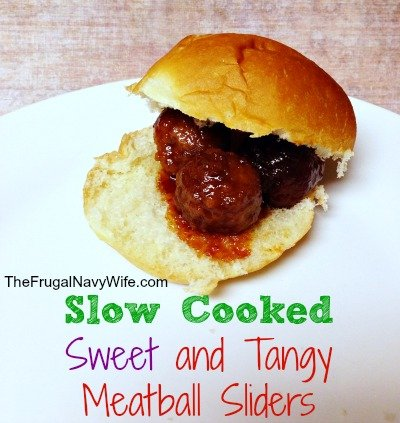 Slow Cooked Sweet and Tangy Meatball Sliders - The Frugal Navy Wife
