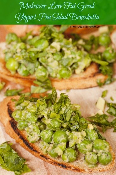 Makeover Low Fat Greek Yogurt Pea Salad Bruschetta