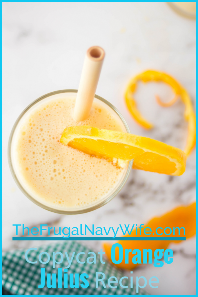 We fell in love with this Copycat Orange Julius recipe and it's a staple in our house especially in the summer months! #frugalnavywife #copycatrecipe #orangejulius #drinkrecipes #smoothies | Orange Julius Recipes | Copycat Recipes | Smoothie Recipes | Drink Recipes | Summer Drinks |