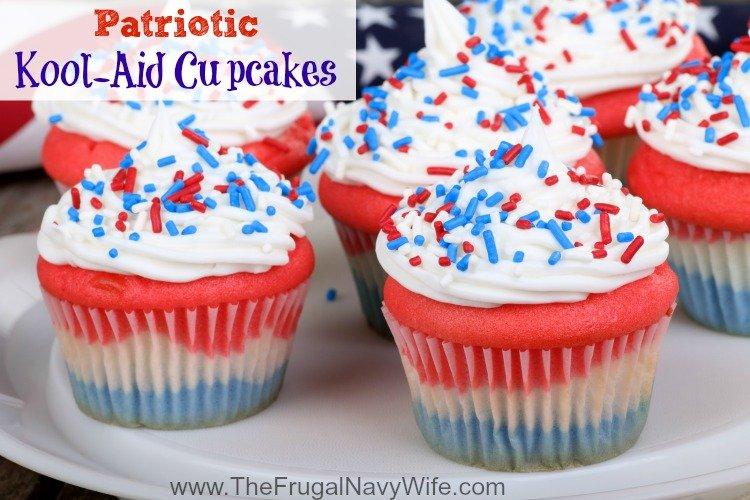 Patriotic Kool-Aid Cupcakes