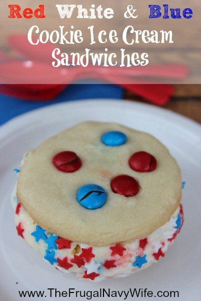 Red White and Blue Cookie Ice Cream Sandwiches Recipe
