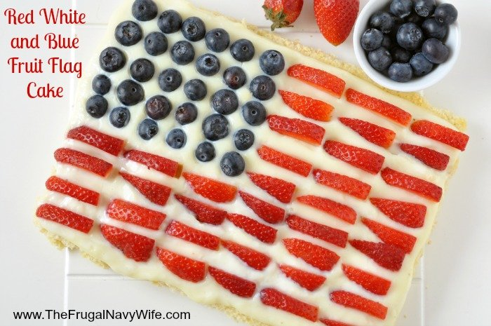 Red White and Blue Fruit Flag Cake