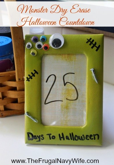 Monster Dry Erase Halloween Countdown